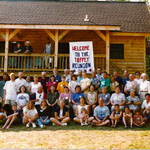 Reunion, 50 family, first new cabin, June, 2000!